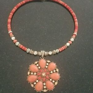 Beaded necklace with statement pendant